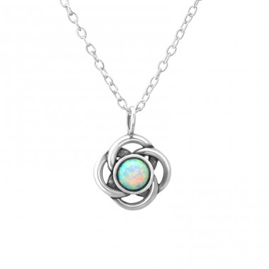 Flower - 925 Sterling Silver Necklace with stones A4S36834
