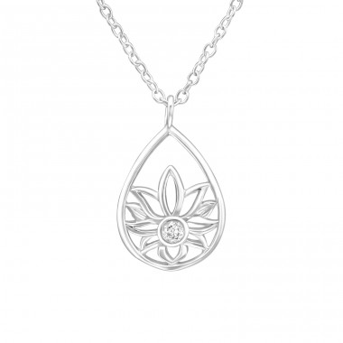 Flower - 925 Sterling Silver Necklace with stones A4S36835