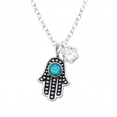Hamsa - 925 Sterling Silver Necklace with stones A4S36836