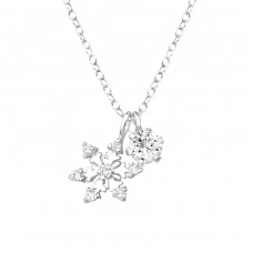 Snowflake - 925 Sterling Silver Necklace with stones A4S36837