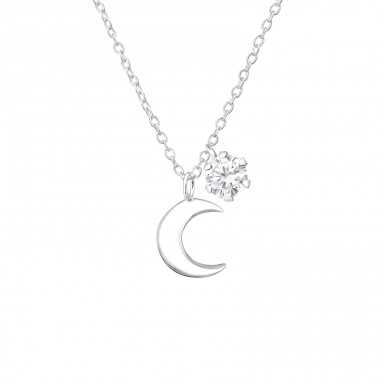 Moon - 925 Sterling Silver Necklace with stones A4S36838