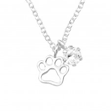 Paw Print - 925 Sterling Silver Necklace with stones A4S36840
