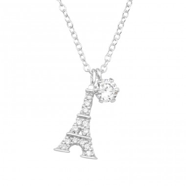 Eiffel Tower - 925 Sterling Silver Necklace with stones A4S36844