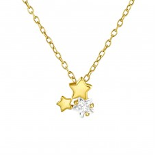 Triple Star - 925 Sterling Silver Necklace with stones A4S36848