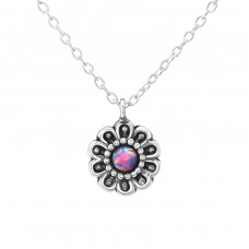 Flower - 925 Sterling Silver Necklace with stones A4S37064