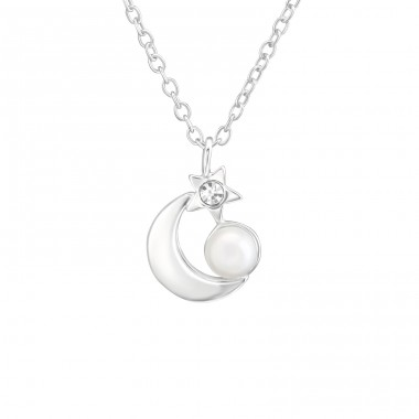 Moon And Star - 925 Sterling Silver Necklace with stones A4S37201