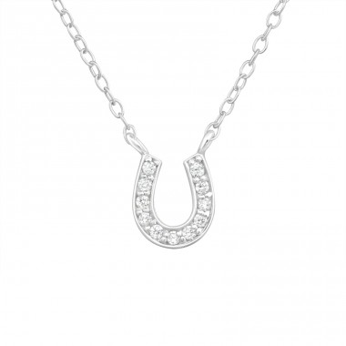 Horseshoe - 925 Sterling Silver Necklace with stones A4S37275