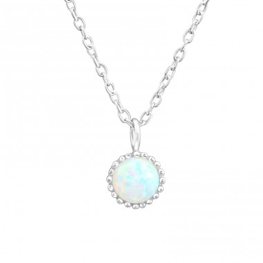 Round - 925 Sterling Silver Necklace with stones A4S37276