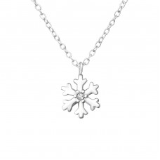 Snowflake - 925 Sterling Silver Necklace with stones A4S37560