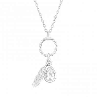Feather - 925 Sterling Silver Necklace with stones A4S37631