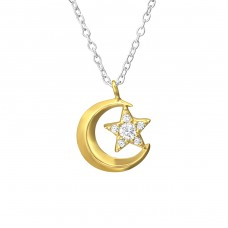 Moon And Star - 925 Sterling Silver Necklace with stones A4S37632