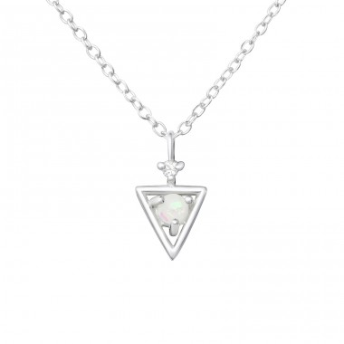 Triangle - 925 Sterling Silver Necklace with stones A4S37635