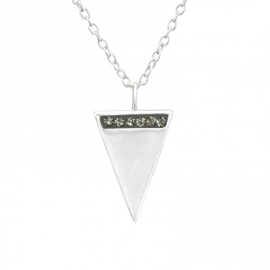 Triangle - 925 Sterling Silver Necklace with stones A4S37637