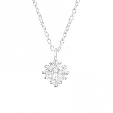 Sparkling - 925 Sterling Silver Necklace with stones A4S37638