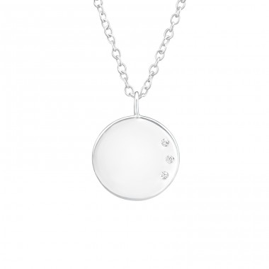 Round - 925 Sterling Silver Necklace with stones A4S37675
