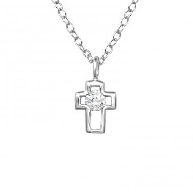 Cross - 925 Sterling Silver Necklace with stones A4S37999