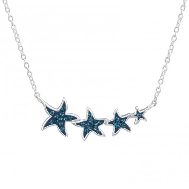 Stars - 925 Sterling Silver Necklace with stones A4S38048