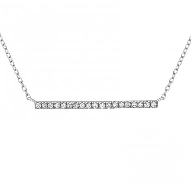 Bar - 925 Sterling Silver Necklace with stones A4S38050