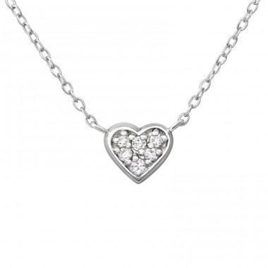 Heart - 925 Sterling Silver Necklace with stones A4S38052