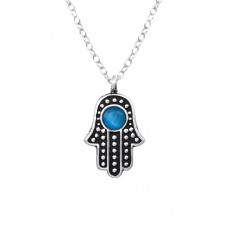 Hamsa - 925 Sterling Silver Necklace with stones A4S38183