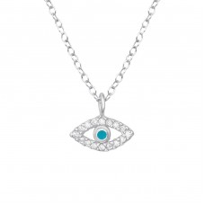 Evil Eye - 925 Sterling Silver Necklace with stones A4S38247