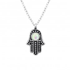 Hamsa - 925 Sterling Silver Necklace with stones A4S38249