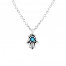 Hamsa - 925 Sterling Silver Necklace with stones A4S38250