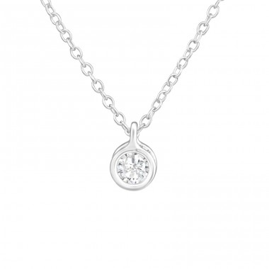 Round - 925 Sterling Silver Necklace with stones A4S38251