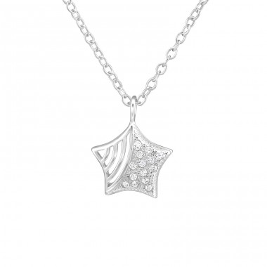 Star - 925 Sterling Silver Necklace with stones A4S38252