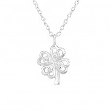 Lucky Clover - 925 Sterling Silver Necklace with stones A4S38253