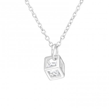 Cube - 925 Sterling Silver Necklace with stones A4S38255