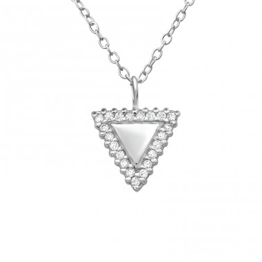 Triangle - 925 Sterling Silver Necklace with stones A4S38277
