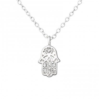Hamsa - 925 Sterling Silver Necklace with stones A4S38278