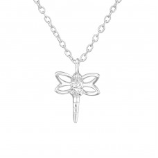 Dragonfly - 925 Sterling Silver Necklace with stones A4S38279
