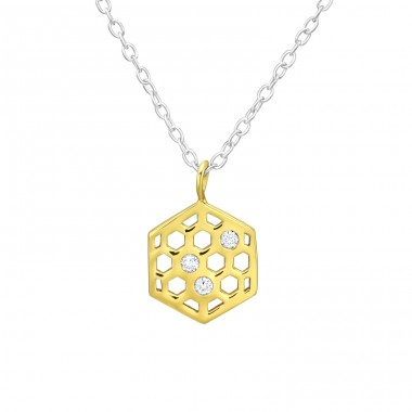Honeycomb - 925 Sterling Silver Necklace with stones A4S38438