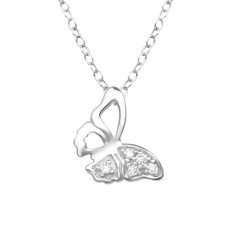 Butterfly - 925 Sterling Silver Necklace with stones A4S38501