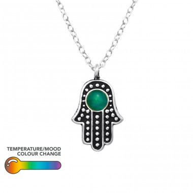 Hamsa - 925 Sterling Silver Necklace with stones A4S38777
