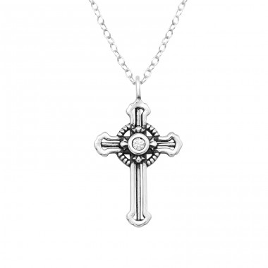Cross - 925 Sterling Silver Necklace with stones A4S38856