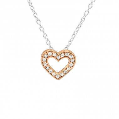 Heart - 925 Sterling Silver Necklace with stones A4S39176