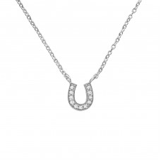Horseshoes - 925 Sterling Silver Necklace with stones A4S39182