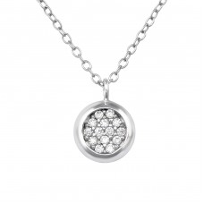 Round - 925 Sterling Silver Necklace with stones A4S39229