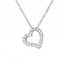 Heart - 925 Sterling Silver Necklace with stones A4S39231