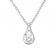 Pear - 925 Sterling Silver Necklace with stones A4S39233