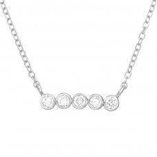 Bar - 925 Sterling Silver Necklace with stones A4S39234