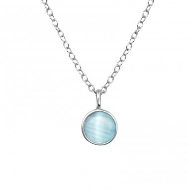 Round - 925 Sterling Silver Necklace with stones A4S39237