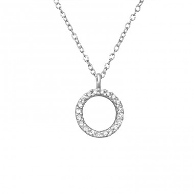 Circle - 925 Sterling Silver Necklace with stones A4S39238