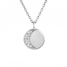 Moon - 925 Sterling Silver Necklace with stones A4S39239
