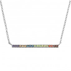 Bar - 925 Sterling Silver Necklace with stones A4S39240