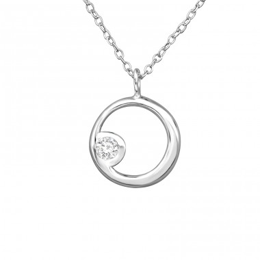Circle - 925 Sterling Silver Necklace with stones A4S39330