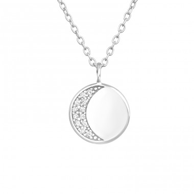 Moon - 925 Sterling Silver Necklace with stones A4S39415